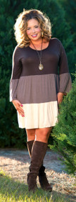 Fancy Free Dress - Brown & Cream***FINAL SALE***