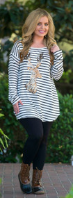 Deer To My Heart Tunic -  Ivory & Black