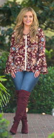 All Paths Lead To You Top  -  Burgundy***FINAL SALE***