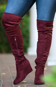Tristan Wide Calf Over The Knee Boot  -  Wine