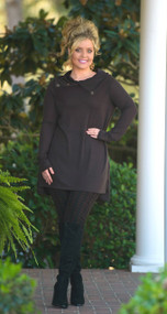 Cute As A Button Tunic   -  Brown