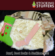 Santa's Helper Stocking  -  Pink