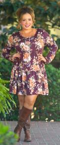 A Vibrant Soul Dress  -  Burgundy