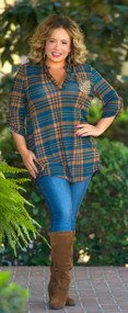 Lost In LaLa Land Top  -  Teal / Rust***FINALE SALE***