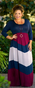 Point Me In The Right Direction Maxi - Navy & Wine***FINAL SALE***