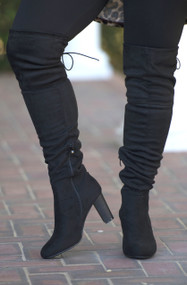 Cute To Boot Knee High Boots  -  Black