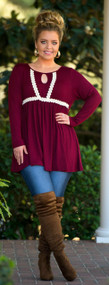 Bright Eyed And Bushy Tailed Top  -  Burgundy***FINAL SALE***