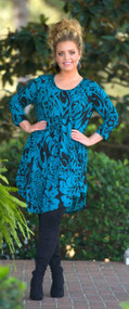 Arabian Nights Tunic / Dress  - Black & Teal***FINALE SALE***