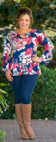 Flirty Fun Top  - Navy***FINAL SALE***
