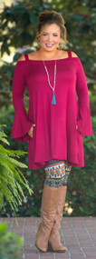 Silent Night Tunic  -  Burgundy
