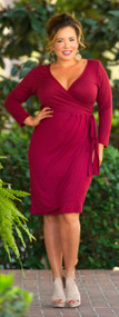 Stroke Of Midnight Wrap Dress - Burgundy