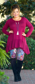 Split Decision Tunic - Burgundy***FINAL SALE***
