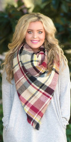 Touch And Go Blanket Scarf  -  Black & Wine