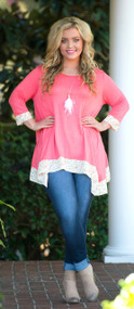 Banded Beauty Tunic  -  Coral