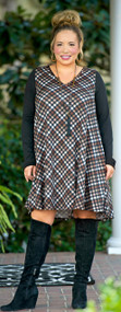 Stencil Me In Dress - Brown Plaid***FINAL SALE***
