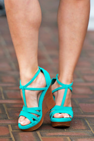 Barbados Blues Wedge - Turquoise***FINAL SALE***