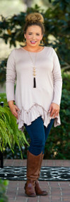 On The Edge Of Forever Tunic - Taupe***FINAL SALE***
