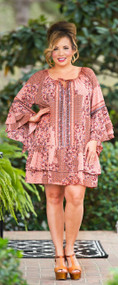 Take It Outside Dress / Tunic  - Rust Mix***FINAL SALE***