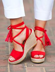 Passport To Paris Wedge - Red