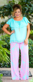 Smooth Sailing Palazzo Pants - Aqua/Pink***FINAL SALE***