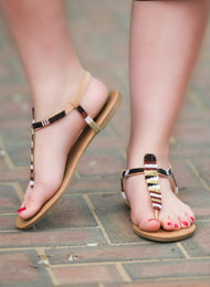 Sequin Delight Sandal - Nude