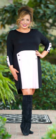 Swinging Sixties Dress - Black & Baby Pink