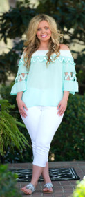 Deep Blue Sea Top - Mint/White