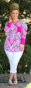 Day To Day Top - Fuchsia/Aqua***FINAL SALE***
