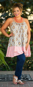 Nomads Dream Tank Tunic  -  Coral