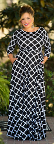 Going My Way Maxi Dress - Black & White