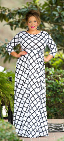 Going My Way Maxi Dress - White & Black