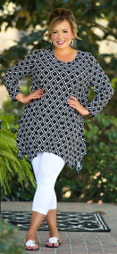 Swept Off My Feet Tunic  -  Black & White