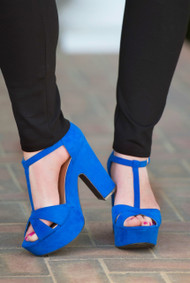 Sky's The Limit Heel  -  Royal Blue