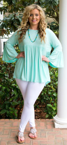 Shake Your Tail Feather Top  -  Mint
