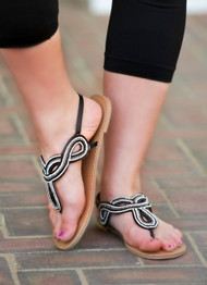 Stitch And Tell Sandal - Black & Silver