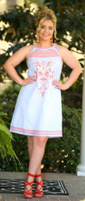 Southern Sophisticate Dress - White & Blue***FINAL SALE***