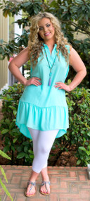 Sheer Delight Tunic  -  Mint