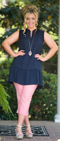 Cliff Hanger Capri  -  Blush