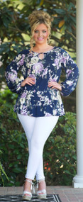Social Butterfly Top - Navy***FINAL SALE***