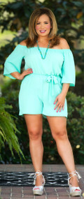 Mediterranean Sunset Romper  - Mint
