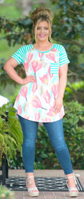 Singing The Blues Top  -  Coral / Mint