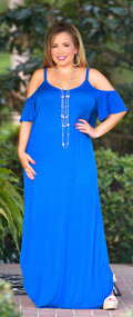 Barefoot In The Meadow Maxi - Cobalt Blue