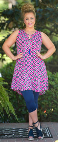 Let's Link Up Dress / Tunic - Fuchsia & Navy
