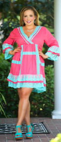 Tequila Sunrise Dress / Tunic - Coral & Turquoise***FINAL SALE***