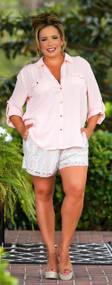 Playing Koi Lace Short - Mint & Peach