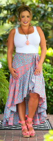 A Leg Up Maxi Skirt - Blue & Coral***FINAL SALE***