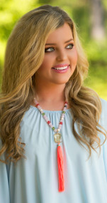 Time To Tell Necklace - Neon Coral