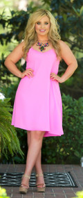 Hunting For Scallops Dress - Hot Pink