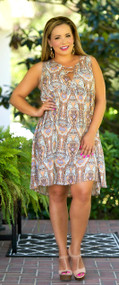 The Golden Coast Dress - Peach Mix