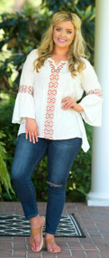 Tribal Textiles Top - Ivory***FINAL SALE***